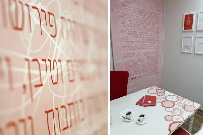 עיצוב משרד - עיצוב טפט עם הטקסט של וירג'ינה וולף הודפס על פרספקס ונתלה על הקיר.